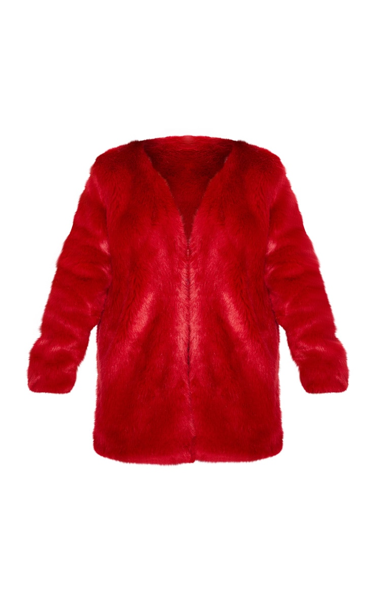 Red Midi Faux Fur Coat  3