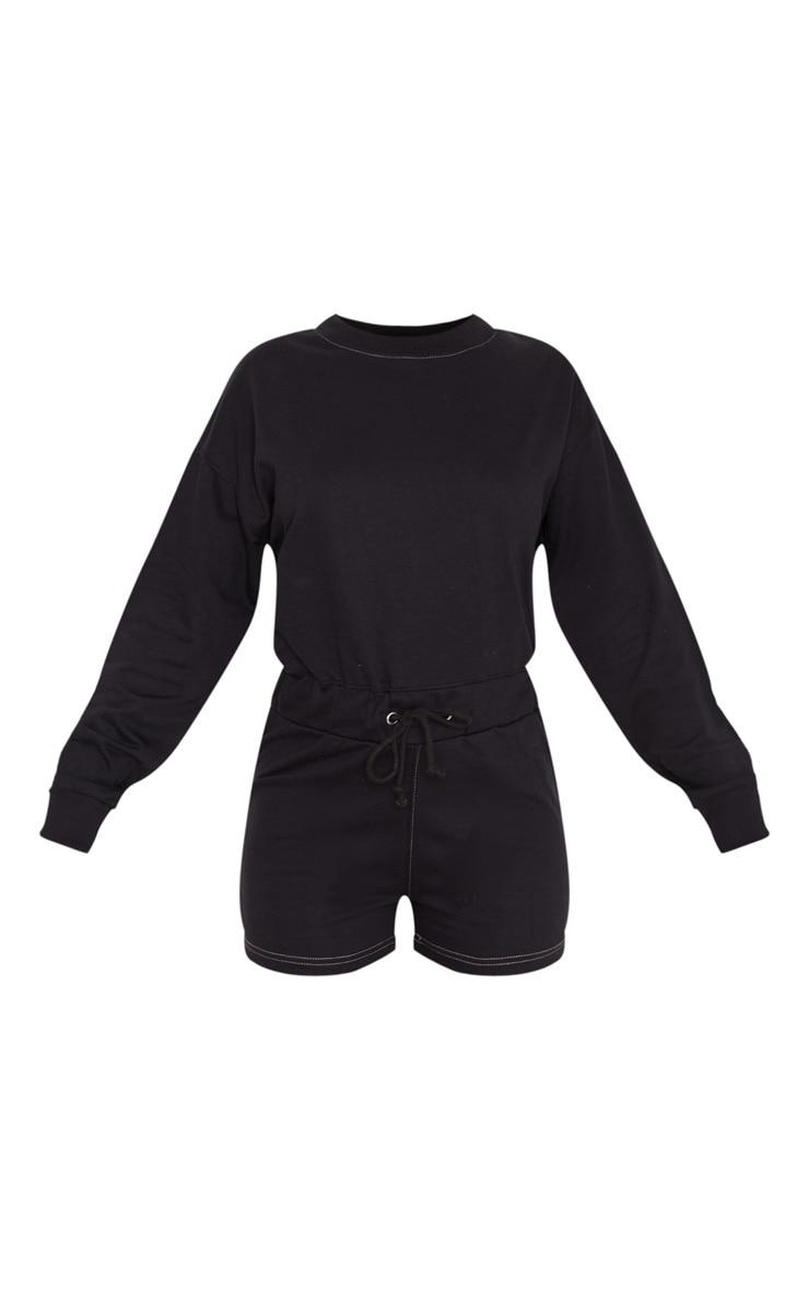 Combishort en sweat noir à manches longues et coutures contrastantes 3