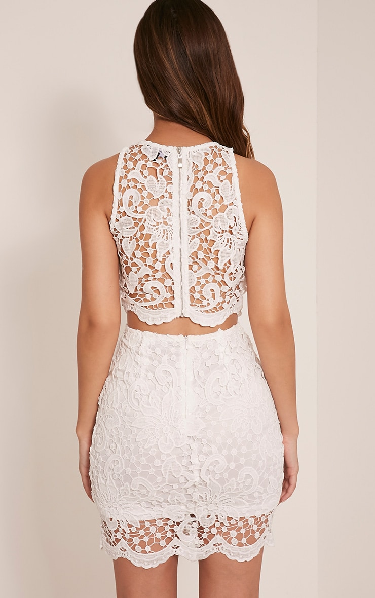 Millicent White Crochet Lace Crop Top 2