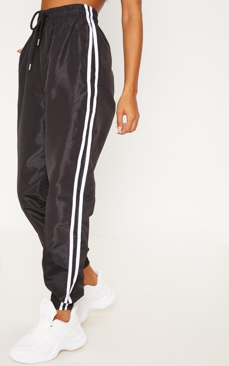 Black Contrast Side Stripe Shell Joggers 2