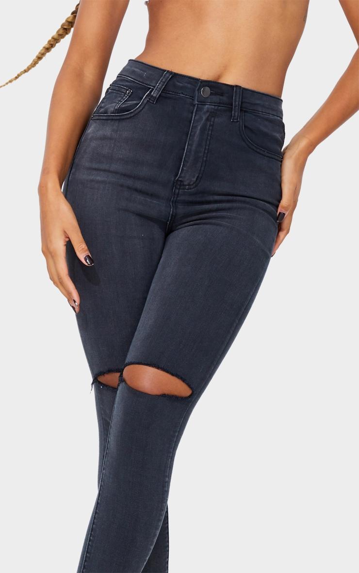 PRETTYLITTLETHING Washed Black Open Knee Raw Hem 5 Pocket Skinny Jean 4