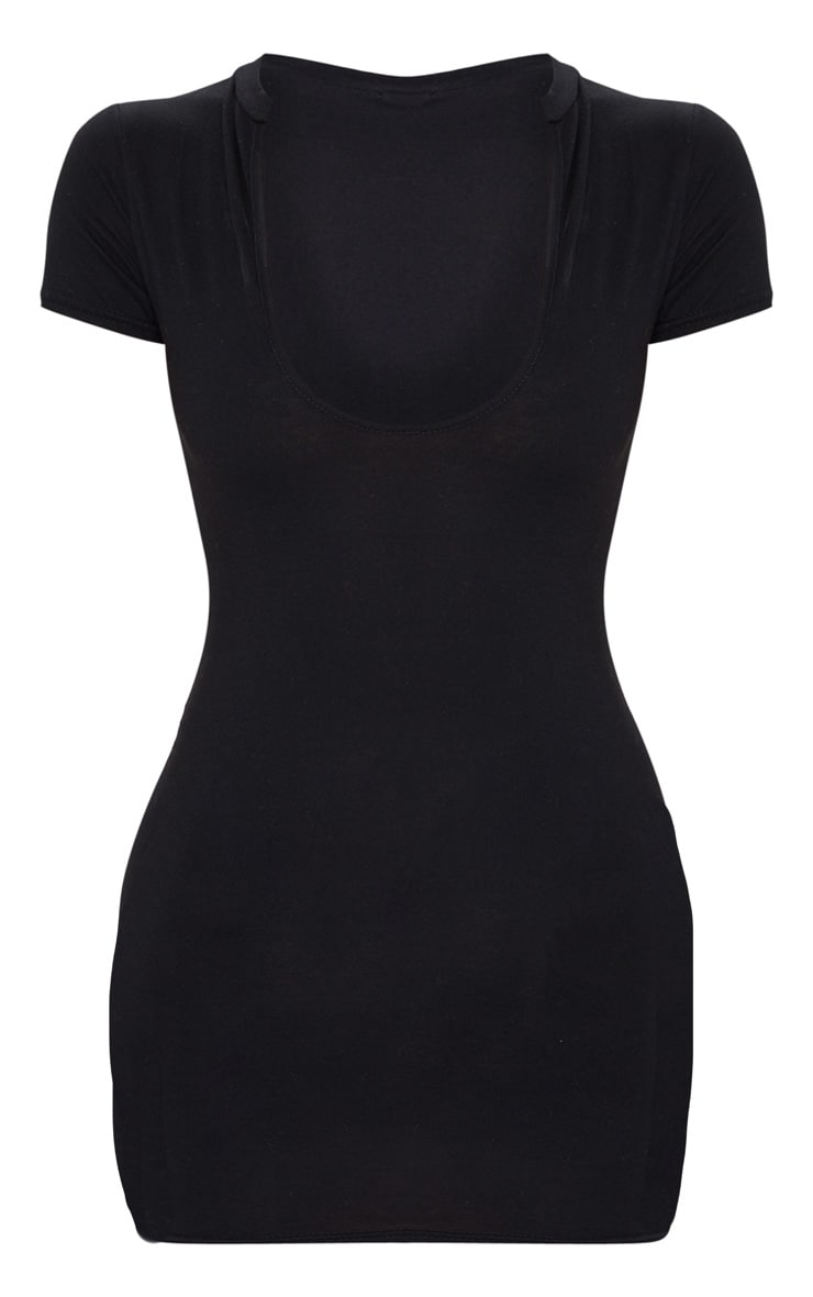 Black Deep Slash V Neck Bodycon Dress 5