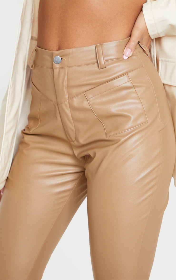 Camel Faux Leather Pocket Detail Straight Pants 5