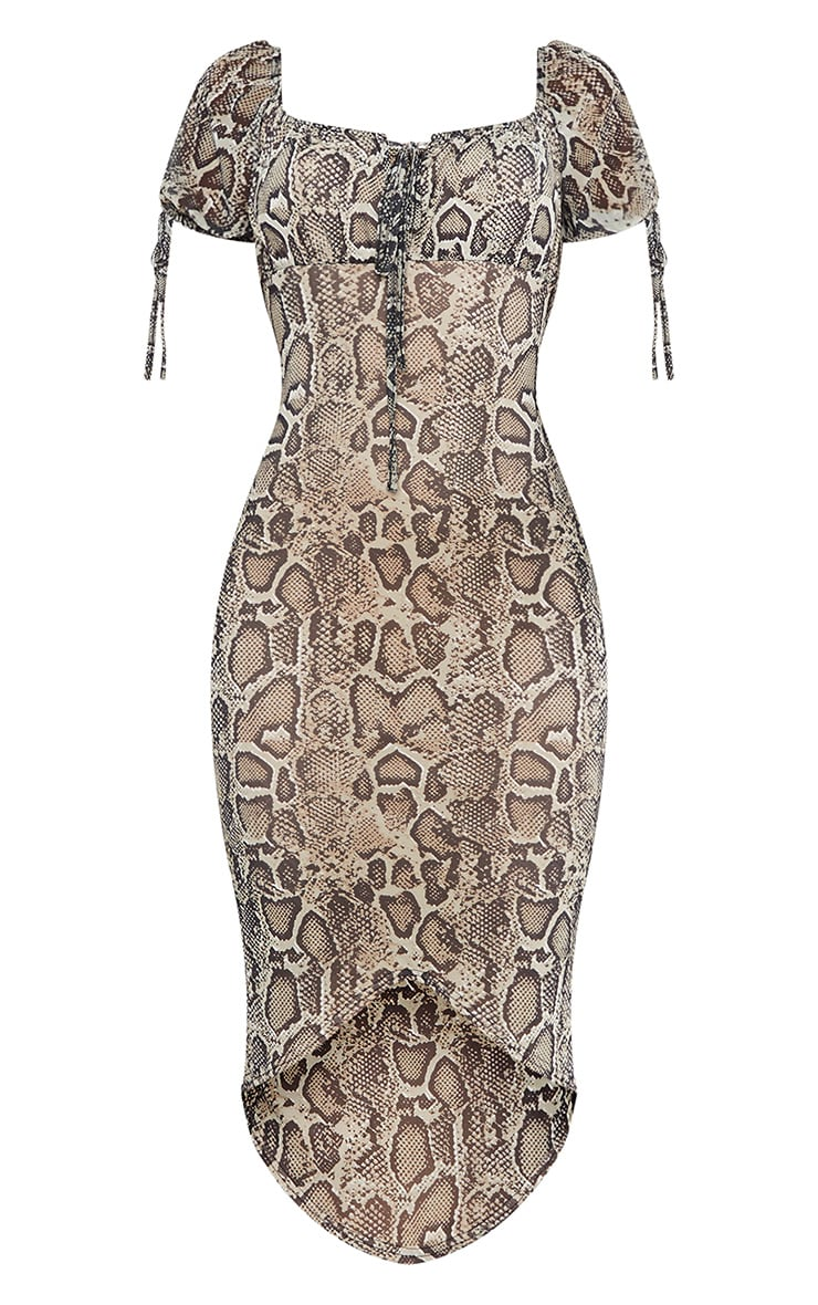 Stone Snake Print Mesh Short Sleeve Midi Dress 5