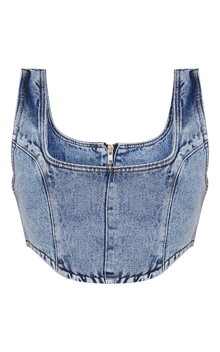 Vintage Wash Denim Corset 5