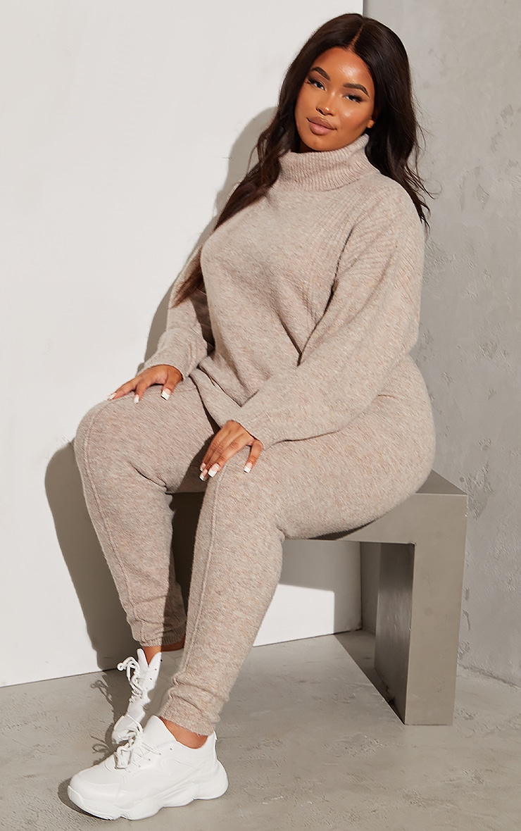 RENEW Plus Oatmeal Knitted Slouchy Roll Neck Jumper 3