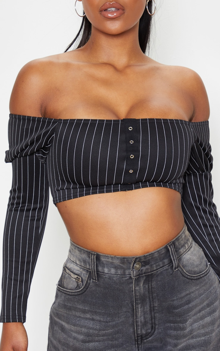 Black Pinstripe Scuba Eyelet Detail Bardot Crop Top  5