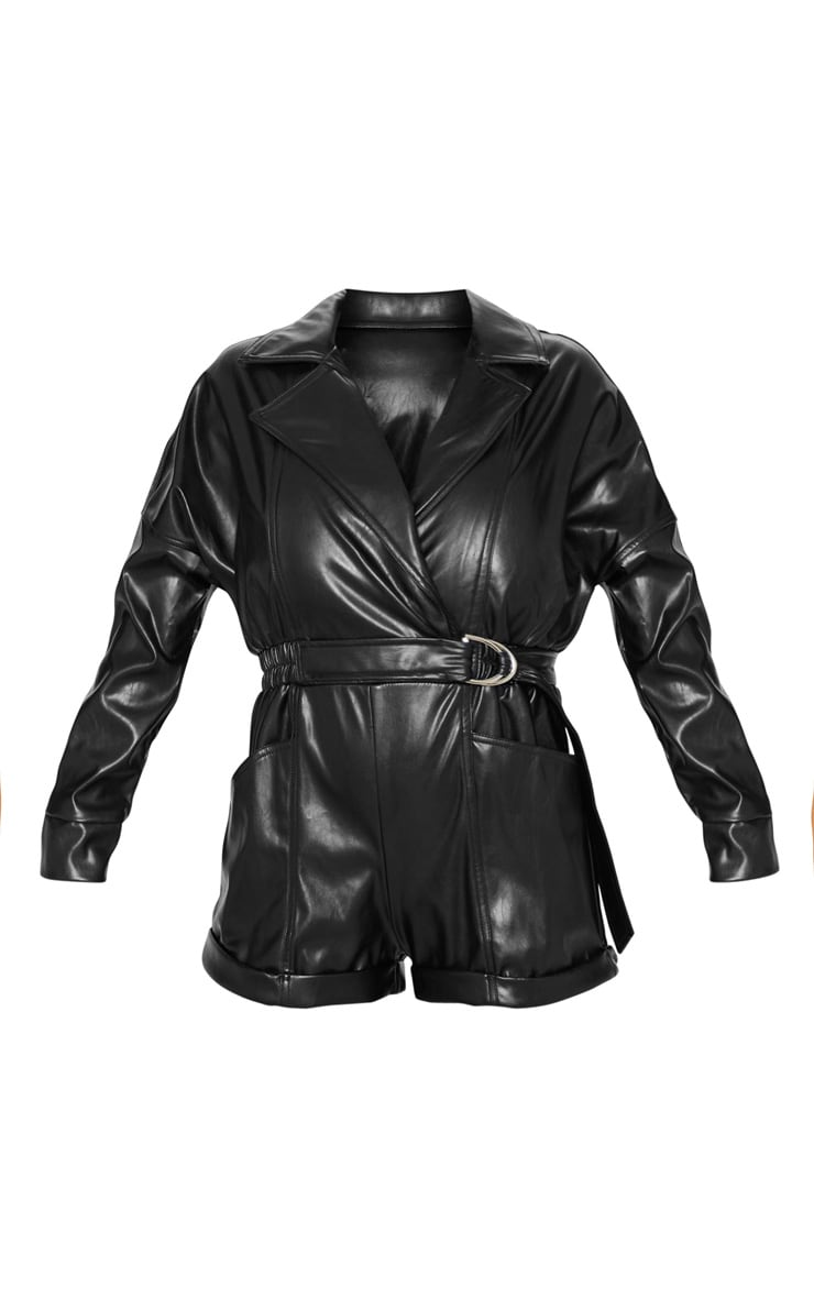 Black Faux Leather Biker Style Playsuit 3