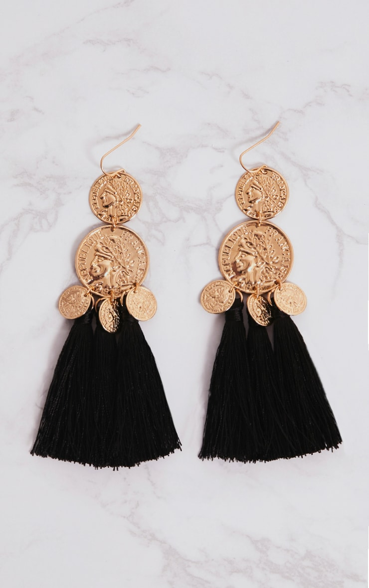 Black Coin Drop Tassel Earrings 3