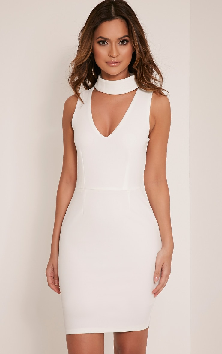 Rosia Cream Choker Neck Bodycon Dress 1