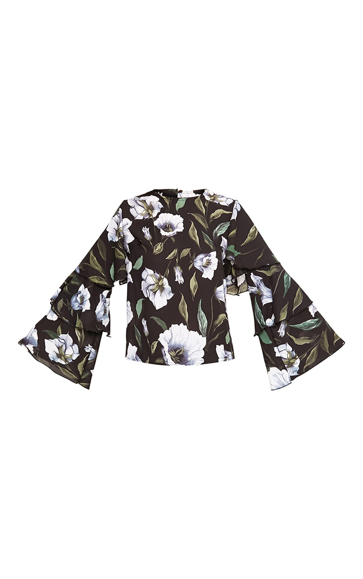Lexia Black Frill Longsleeve Floral Printed Blouse  3
