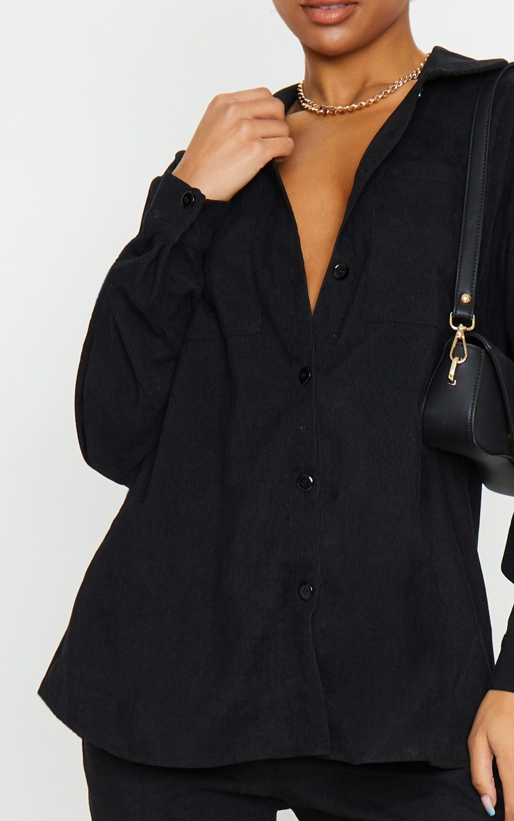 Black Cord Button Front Oversized Shirt 4