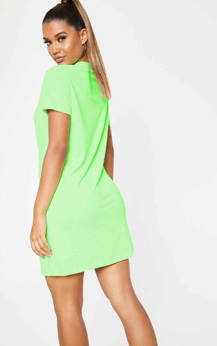 PRETTYLITTLETHING Neon Green Block Slogan Oversized T Shirt Dress 2