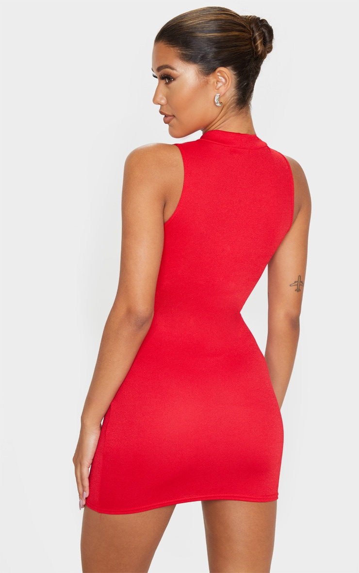 Red Cross Front High Neck Bodycon Dress 2