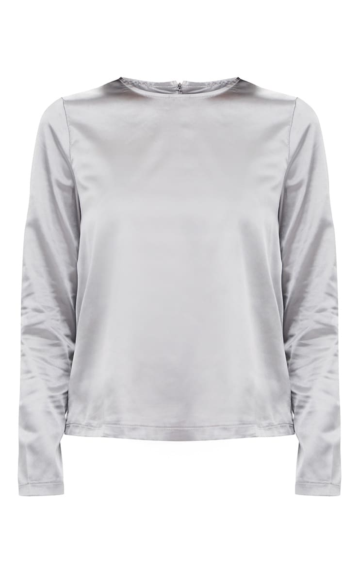 Dark Grey Satin Crew Neck Longsleeve Top  3