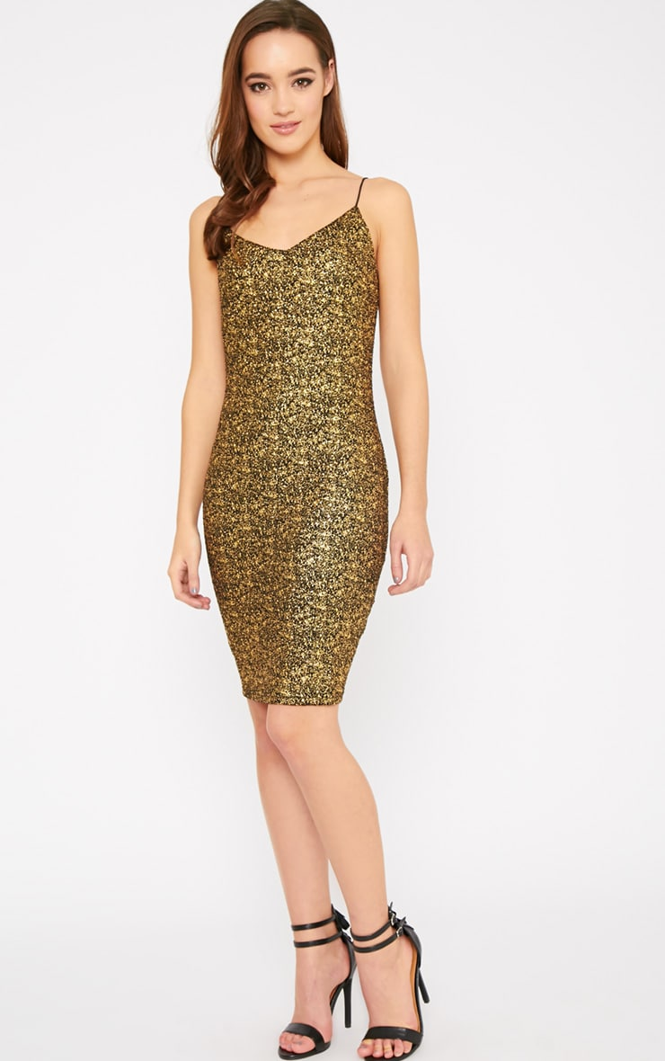 Hania Black Gold Flecked Mini Dress-XS 5