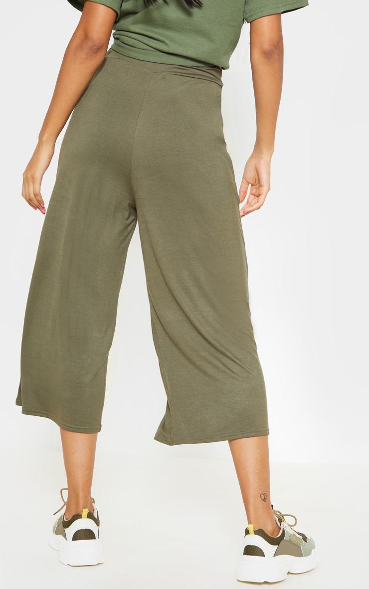 Khaki Jersey Pocket Detail Culotte 4