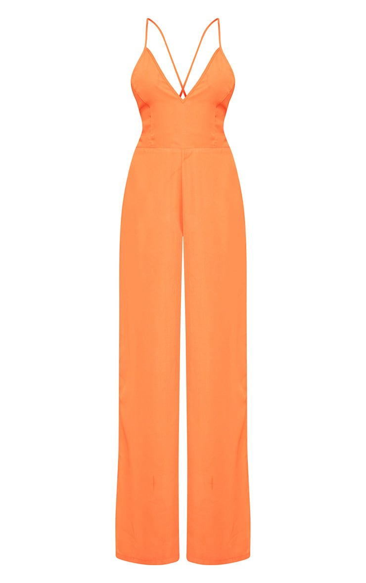 Orange Plunge Side Split Leg Jumpsuit  3