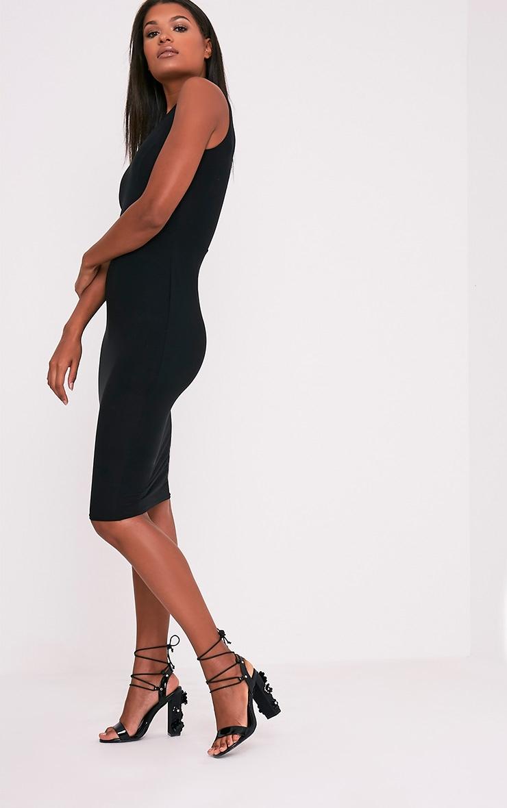 Chanee Black Sleeveless Plunge Midi Dress 4