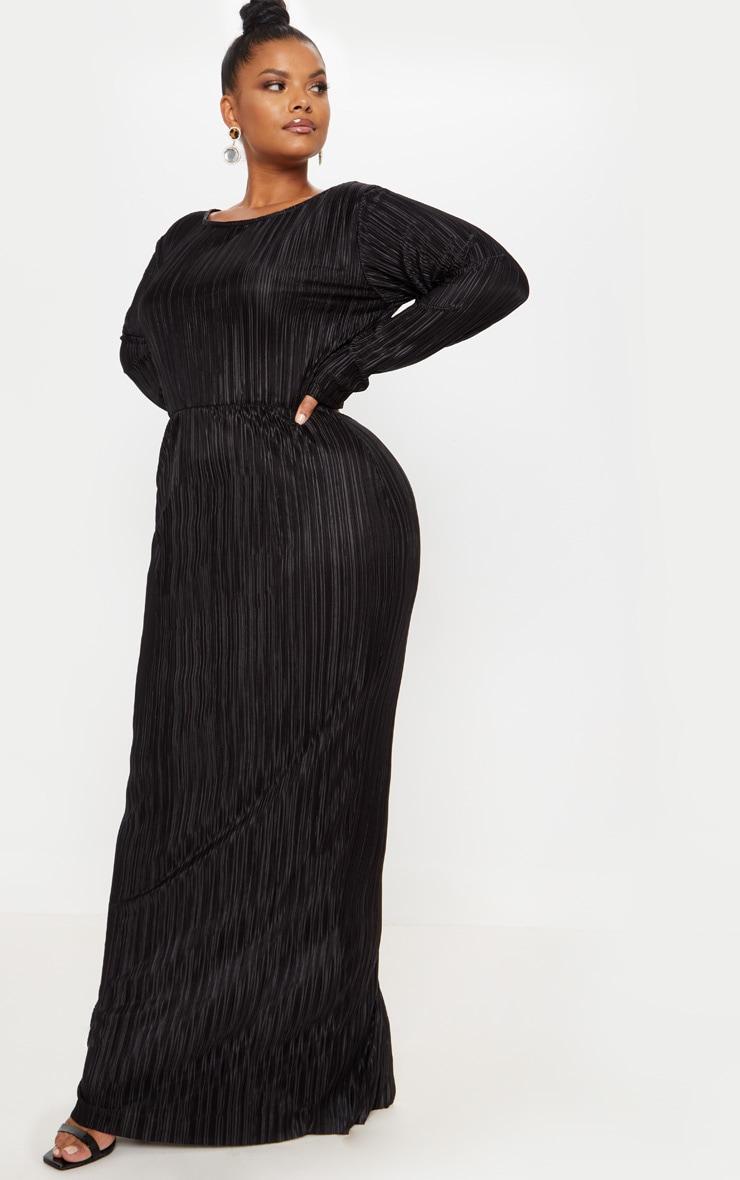 Plus Black Pleated Open Back Maxi Dress 4