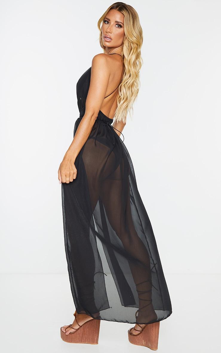 Black Chiffon Plunge Beach Dress 3
