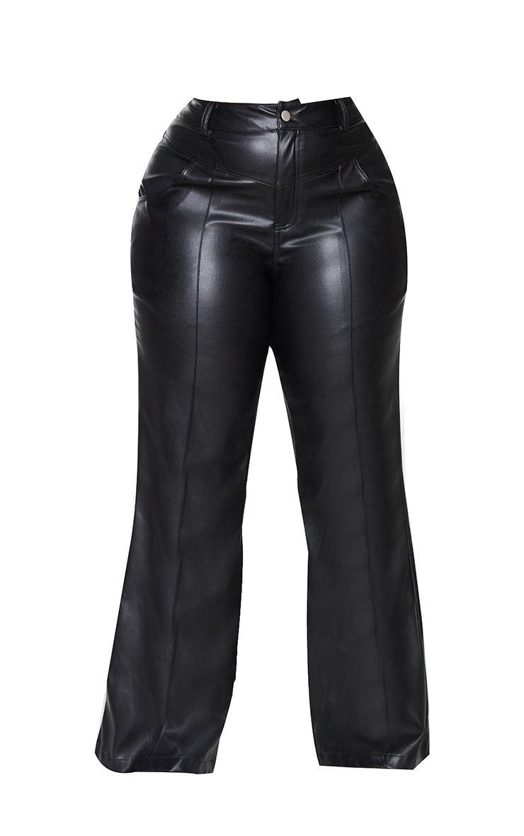 Plus Black Faux Leather Seam Detail Wide Leg Pants 5