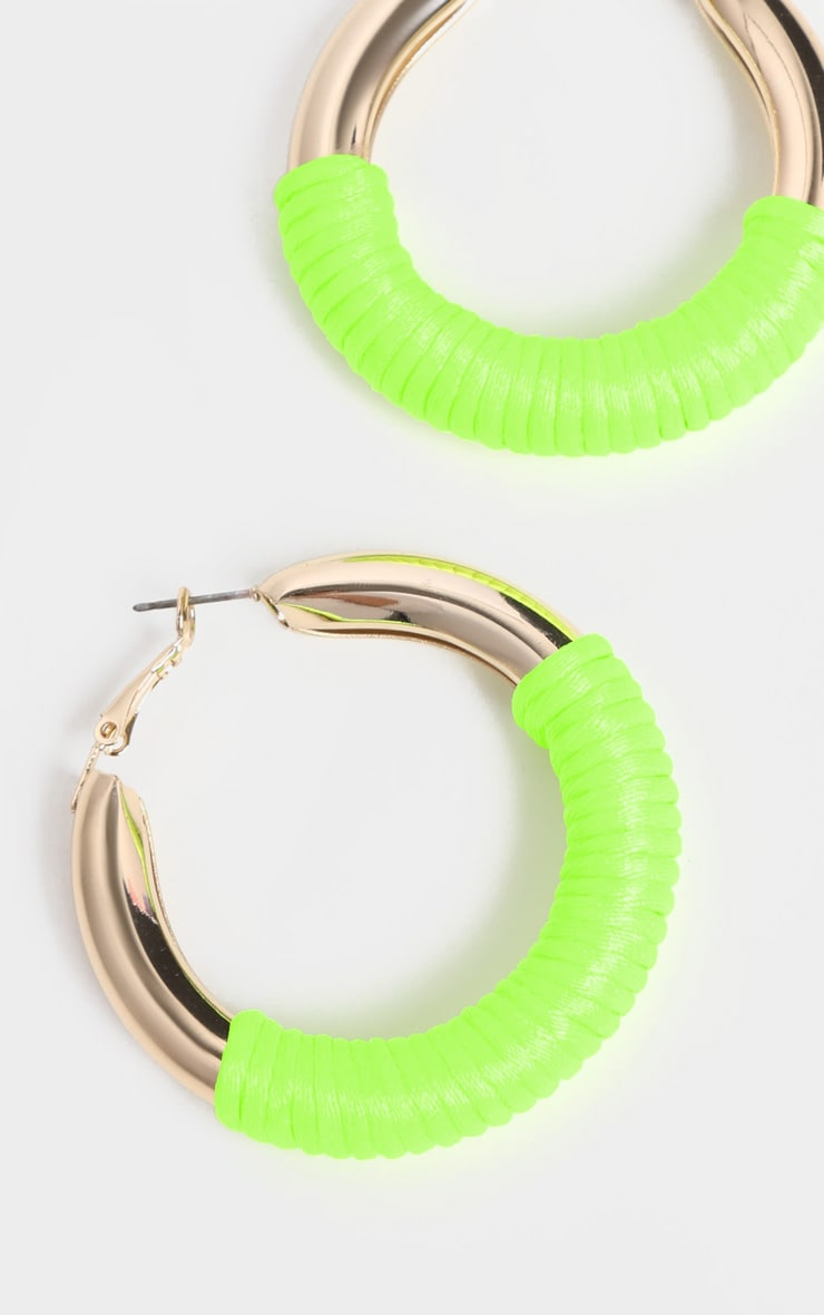 Neon Green Rope Hoop Earrings 1
