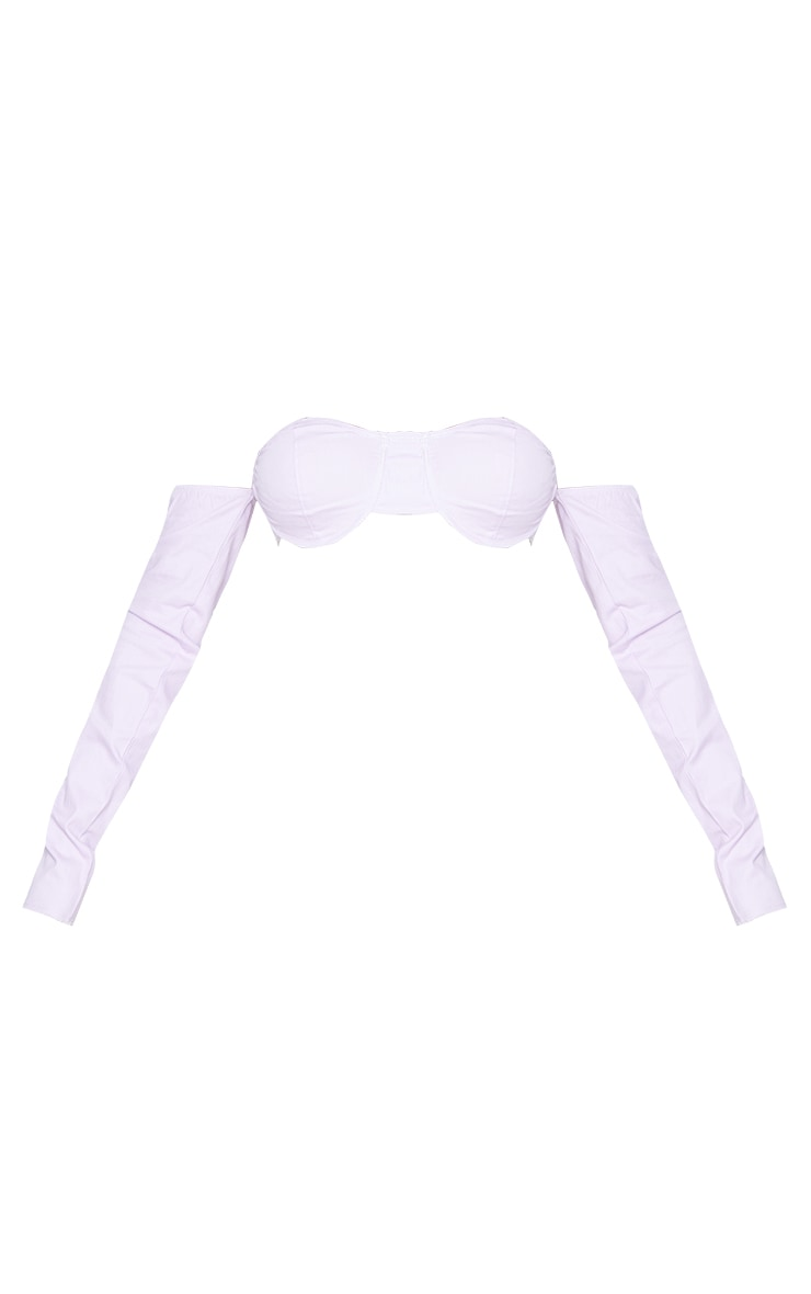 PRETTYLITTLETHING Shape Lilac Underwire Cup Detail Bardot Crop Top 5