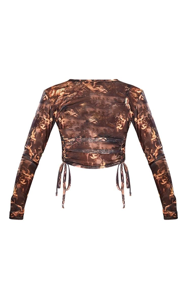 Brown Renaissance Printed Sheer Ruched Tie Long Sleeve Crop Top 5