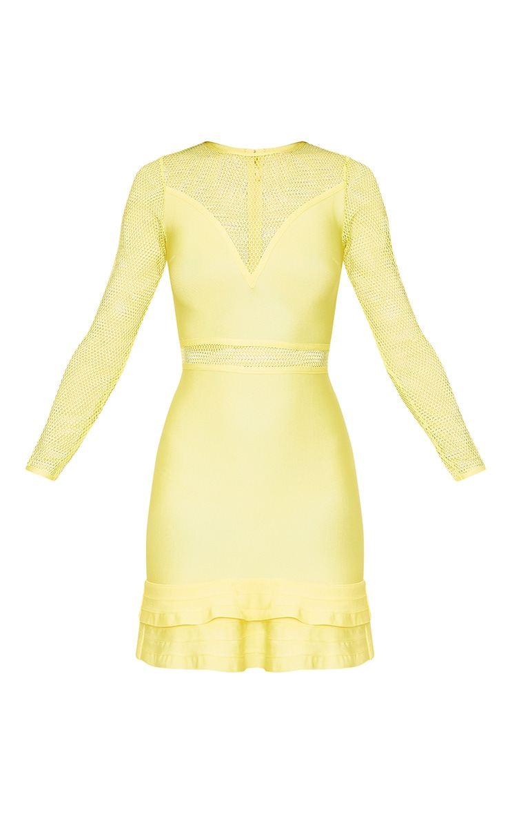Yellow Fishnet Frill Hem Bandage Bodycon Dress 3