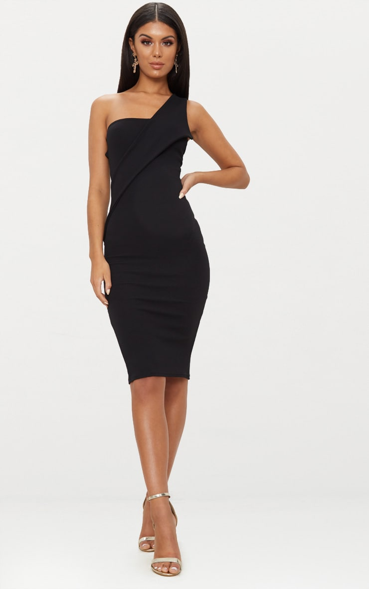Black Asymmetric Strap Midi Dress