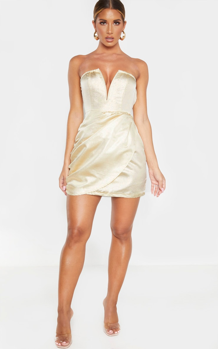 Champagne Textured Glitter V Bar Bandeau Ruched Bodycon Dress 4
