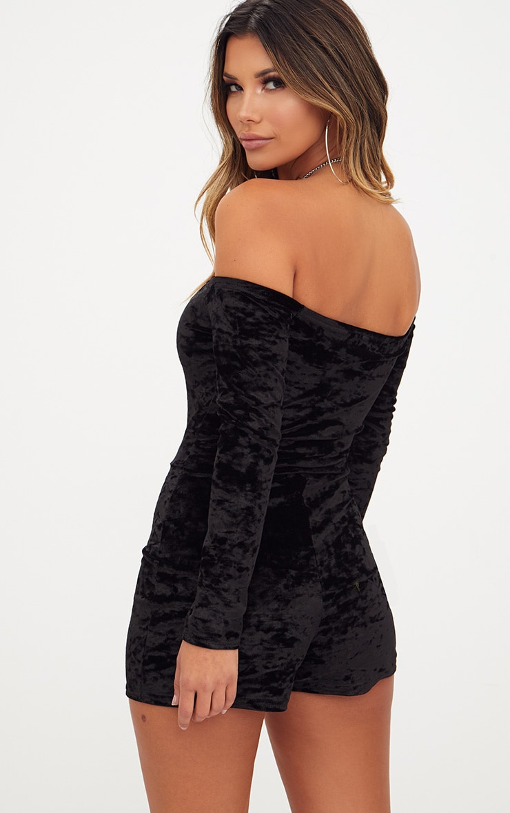 Black Velvet Long Sleeve Bardot Playsuit  2
