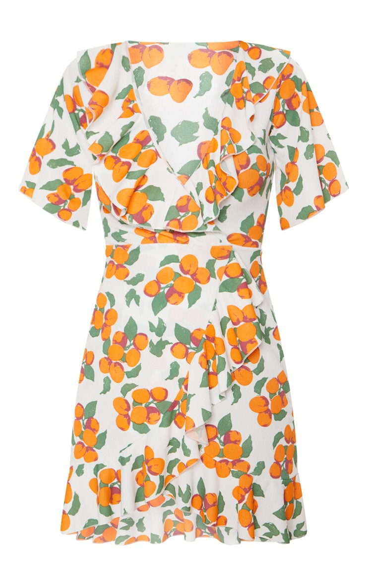 Orange Print Frill Wrap Over Tea Dress 3