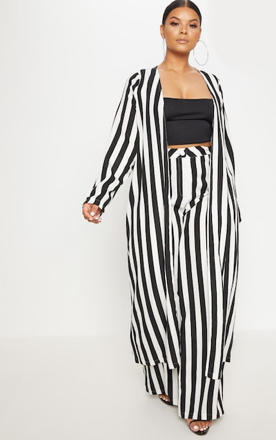 56f4cda0897 Plus Black Striped Longline Duster Jacket PrettyLittleThing Sticker