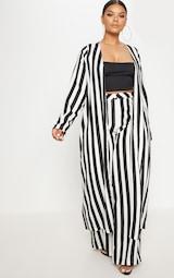 Plus Black Striped Longline Duster Jacket 1