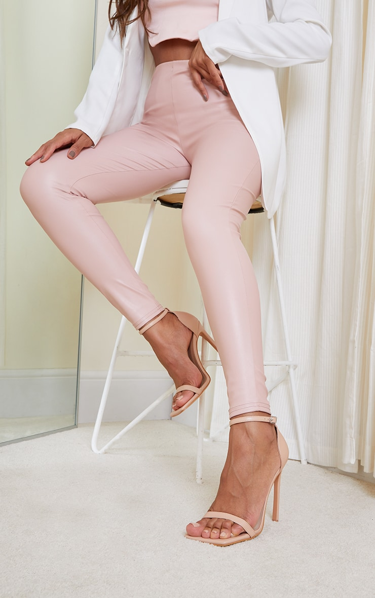 Nude PU Barely There Strappy Heeled Sandals 2