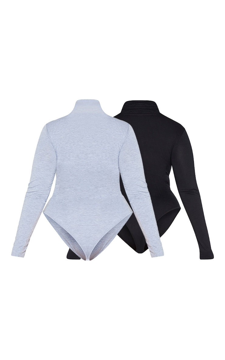PLT Plus - Lot de 2 bodies basiques noir et gris à col roulé et manches longues 6