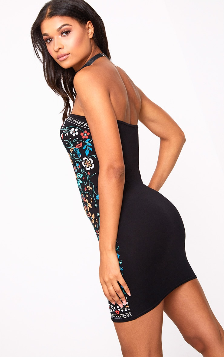 Black Flower Print Bandeau Bodycon Dress 2