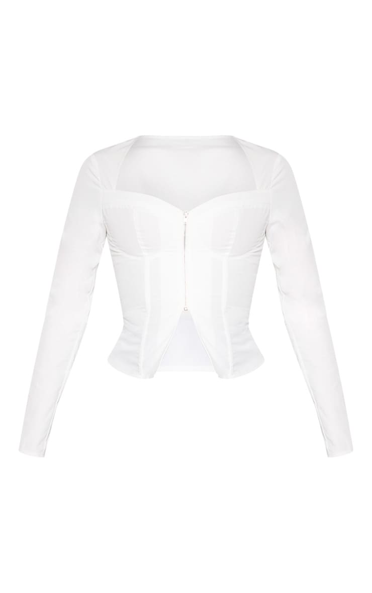 Top style corset tissé blanc à manches longues et zip frontal 3