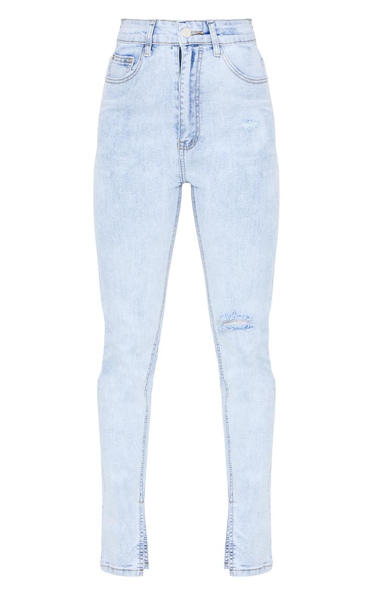 Petite Bleach Wash Long Leg Split Hem Slim Fit Jeans 5