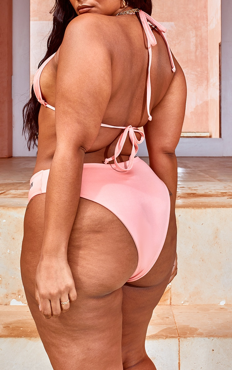 Plus Peach Golden Slogan Bikini Bottoms 3