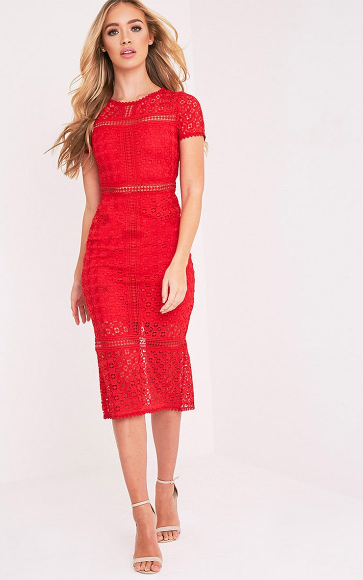 Midira Red Crochet Lace Midi Dress 1