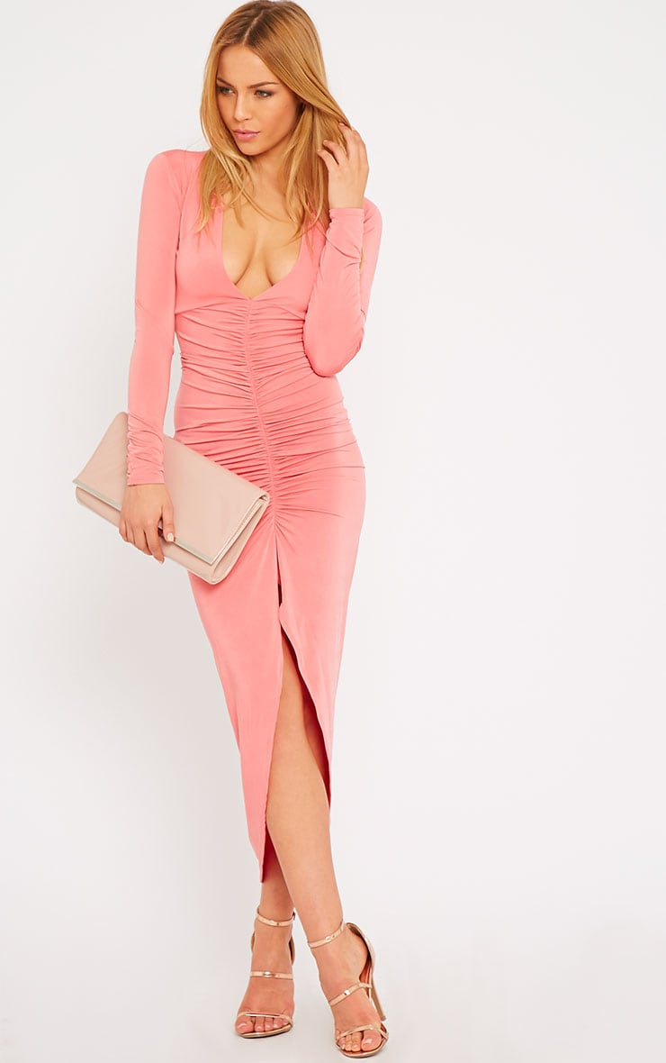 Ellie Coral Slinky Ruched Maxi Dress 4