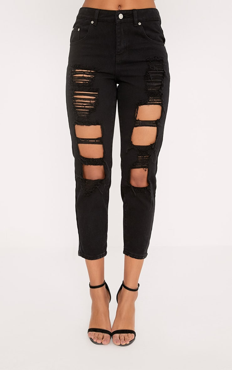 Black Extreme Shred Straight Leg Jean 2