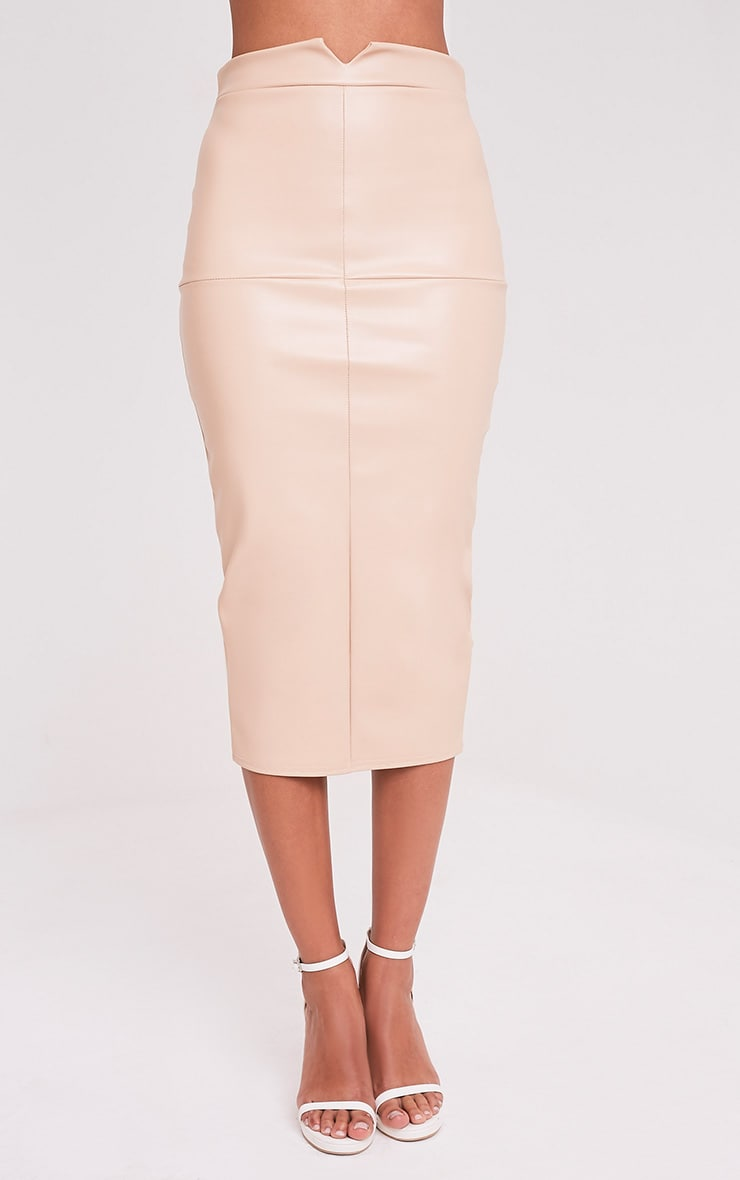 Eva Nude Faux Leather Panel Midi Skirt 2