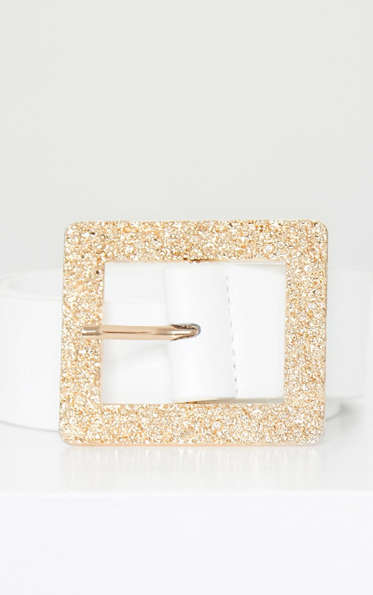 White Textured Gold Square Buckle Belt 3