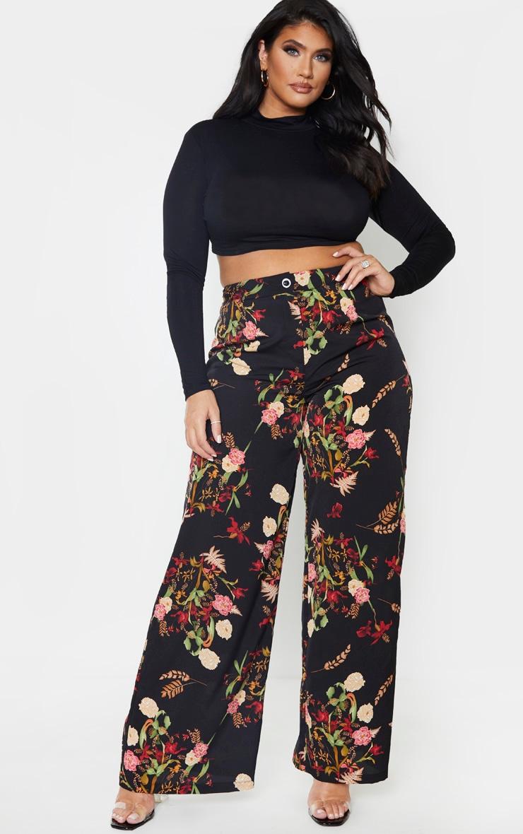 Plus Black Oriental Print Wide Leg Trouser 1
