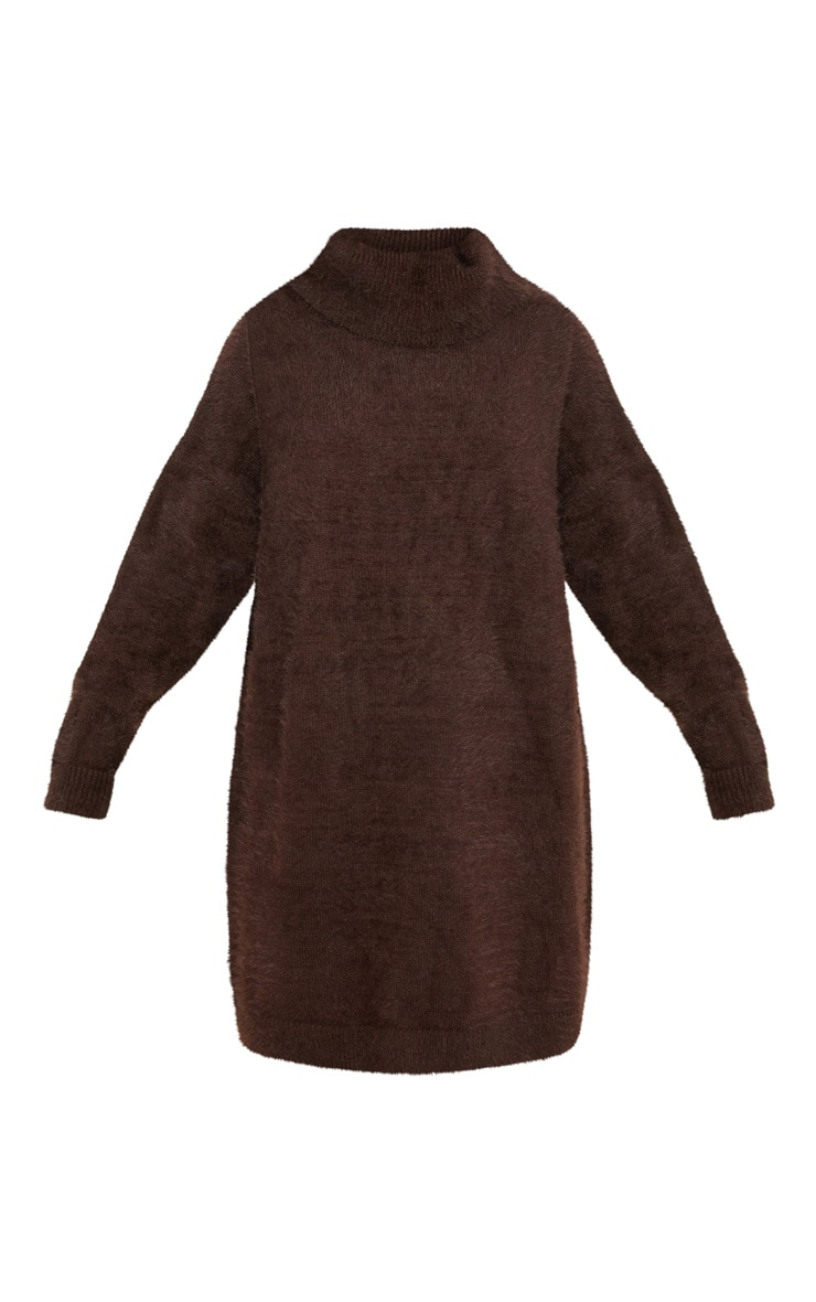 Brown Knitted High Neck Jumper Dress 3