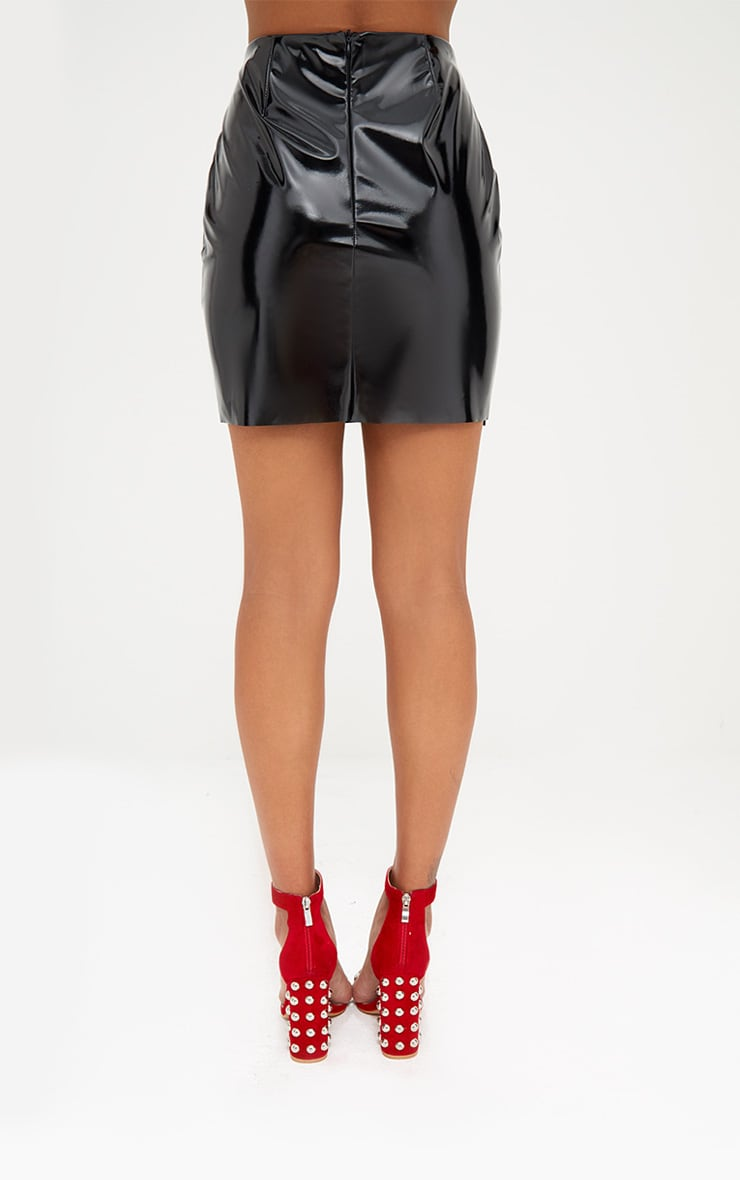 Black Oversized Ruffle Vinyl Mini Skirt 4